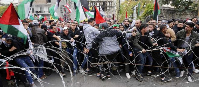 Violent clashes between protestors and police at US Embassy in Lebanon