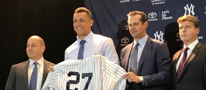El gran slugger Giancarlo Stanton lleva todo su poder de HR a los Yankees