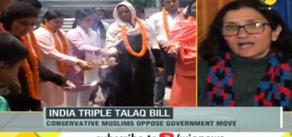 Indian Muslim women celebrate (Image credit Youtube.com Wion News Channel )