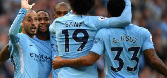 City's players celebrates during the victory in front of Stoke City (7-2). Photo courtesy of Getty Images