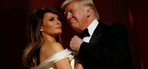 Donald Trump com a esposa Melania