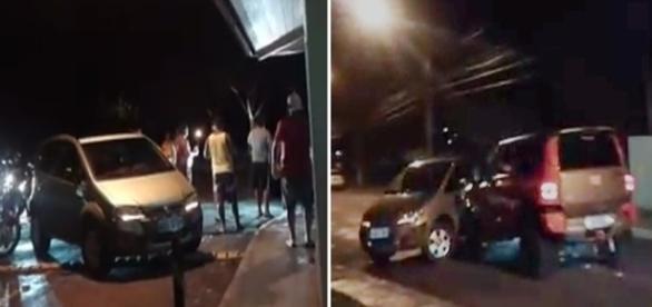 Na imagem o momento em que o carro modelo troller empurra o veículo que estava atrapalhando a passagem dos moradores.