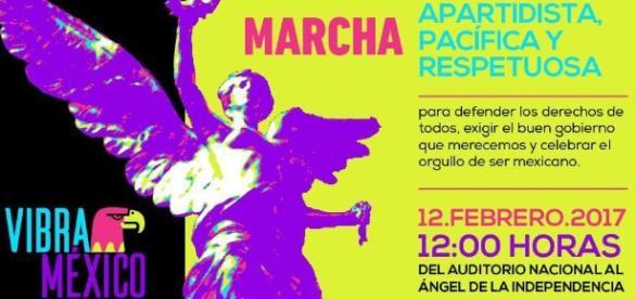 Cartel de la marcha convocada por la organización Vibra México