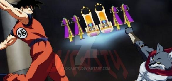 Fan art de Dicasty para el primer enfrentamiento de Goku homenajeando a otra mítica serie
