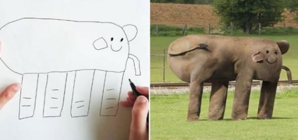 Imagens de desenhos feito por uma criança de uma forma diferente
