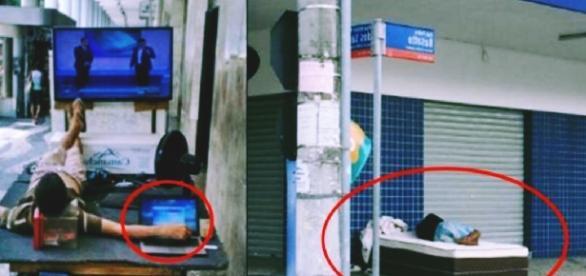 Moradores de rua são vistos com equipamentos modernos