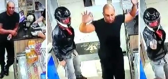 Na primeira imagem é possível ver o atirador no momento em que efetuou os disparos, já na segunda os policiais que atenderam a ocorrência.