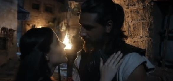 Ula e Mireu na novela 'A Terra Prometida' (Divulgação/Record)