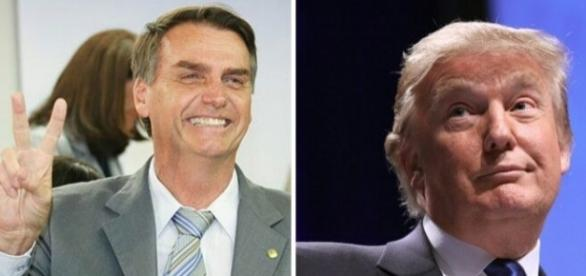 Jair Bolsonaro e Donald Trump (à diretia)