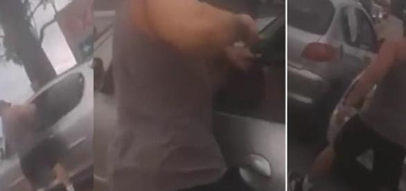 Motorista enfurecido ataca pai de família dentro do carro