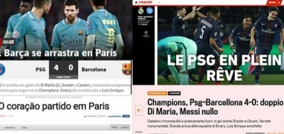 Capas dos principais sites esportivos destacaram a goleada