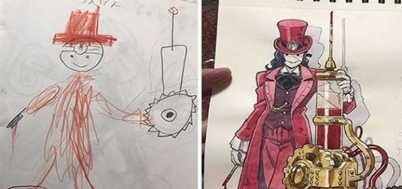 Pai transforma os desenhos dos filhos