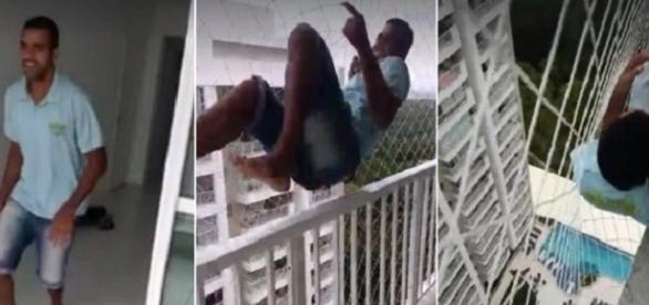 Nas imagens é possível ver que o homem se dependura na rede se arriscando a cair de uma altura considerável.