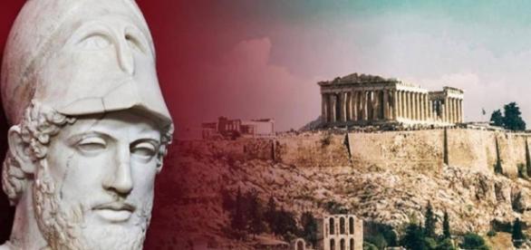 O estadista ateniense Péricles e a Acrópole ao fundo