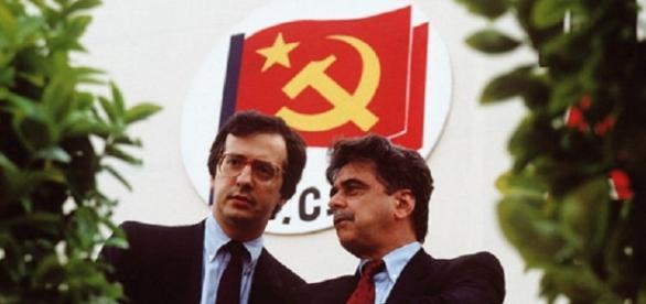Achille Occhetto, ultimo segretario del PCI, insieme ad un giovane Walter Veltroni