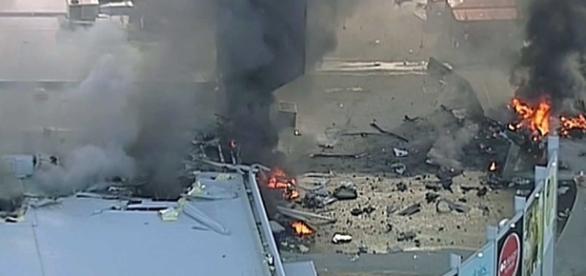 Destroços do avião que se envolveu em um acidente na Austrália