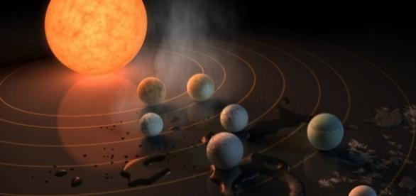 Representação divulgada pela NASA do novo sistema solar.