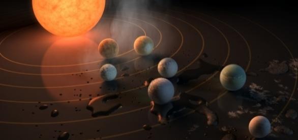 NASA anunciou a descoberta de sete planetas orbitando uma única estrela (Crédito:NASA/JPL-Caltech)