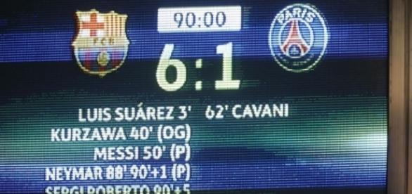 le panneau affichant l'incroyable remontada des barcelonais