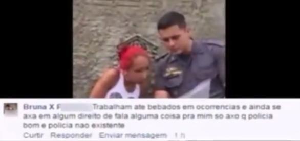 Bruna falou mal de policiais no Facebook e acabou presa por desacato.