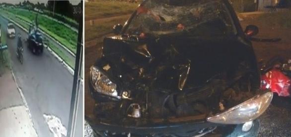 Na imagem o carro envolvido no acidente e a motocicleta totalmente destruídos.