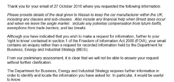 Original email sent to the Department of Business, Energy and Industrial Strategy - Source: Myself