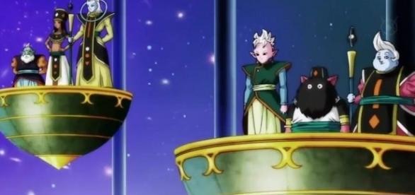 Algunos de los dioses de la destrucción y Kaioh-Shin de los otros universos previo a la pelea de exhibición