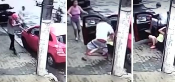 Vítima é arrancada do carro com violência
