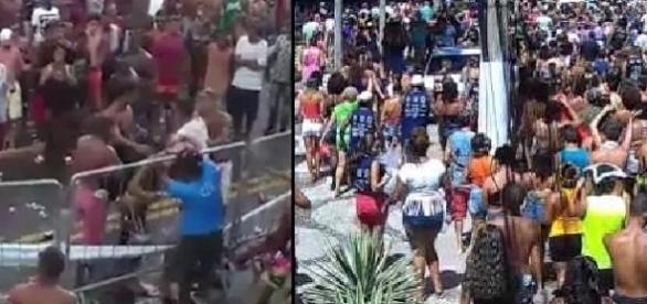 """Foliões se agridem durante apresentação do bloco """"Vou Zoar"""""""