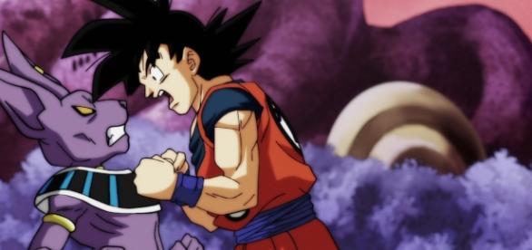 Goku enojado con Bills en el episodio 77