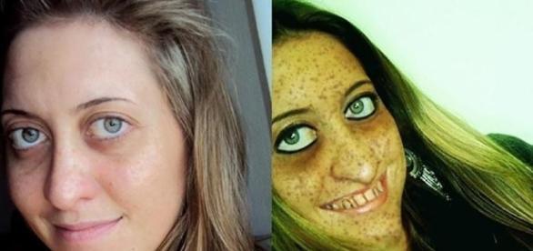 Selficídio - doenças da modernidade. Solange na imagem à esquerda aparece como realmente é; na direita, como ela se via