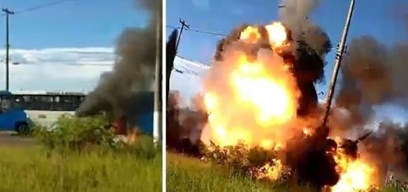 Vídeo mostra momento em que veículo explode em via movimentada.