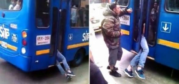 Motorista prende ladrão em porta de ônibus e o leva até a delegacia.