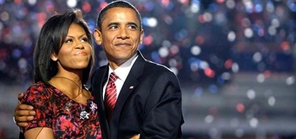 Barack y Michelle Obama en Convención Demócrata, 2008.
