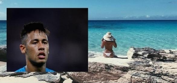 Neymar se surpreende após ver topless da namorada