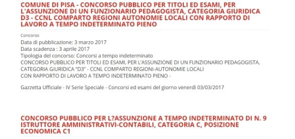 Bando Pedagogista, Comune Pisa, tempo indeterminato