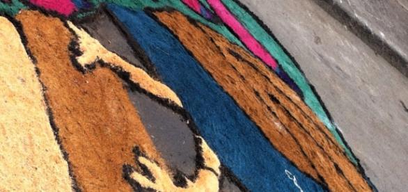 tapete de aserrín con imagen de pavo real, atrás un torito