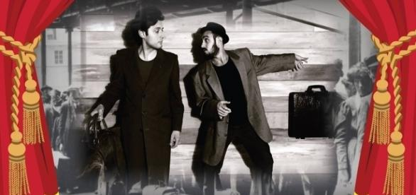 """Locandina dello spettacolo """"Con la valigia in mano"""""""