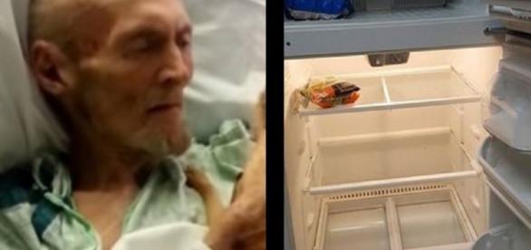 Enfermeira ajuda idoso faminto