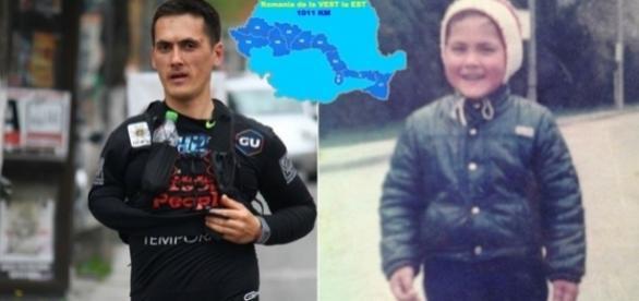 Levy la vârsta de 5 ani zâmbind fericit înainte ca destinul să-l conducă la ceea ce este astăzi: ultramaratonistul pus în slujba semenilor