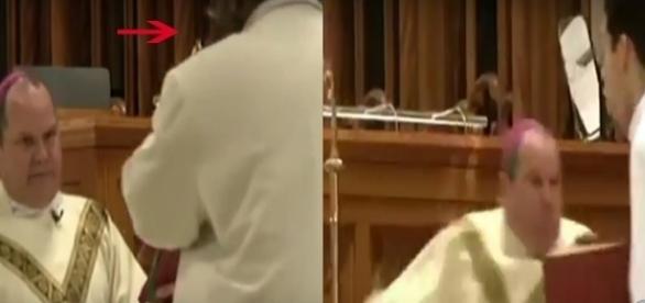 Padre é ferido por homem desconhecido (Foto: reprodução Youtube)