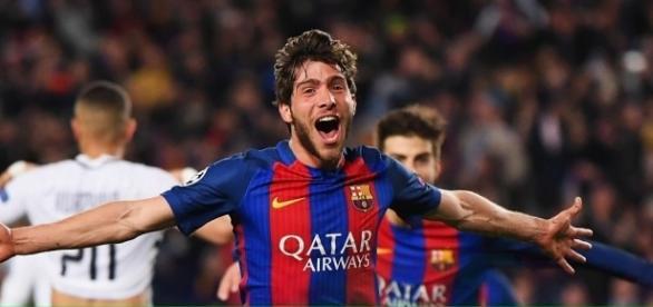 Sergi Roberto lors de son but en toute dernière seconde qui qualifie le Barça pour les quarts de final