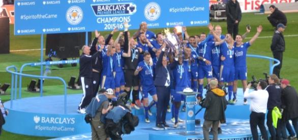The Leicester City lifting the premiership trophy last year