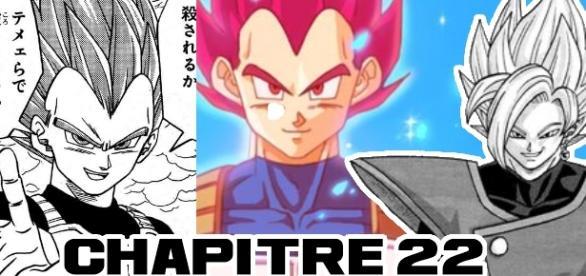 Chapitre 22 de Dragon Ball Super par Akira Toriyama et Toyotaro: Vegeta SSJGod et Gattai Zamasu !