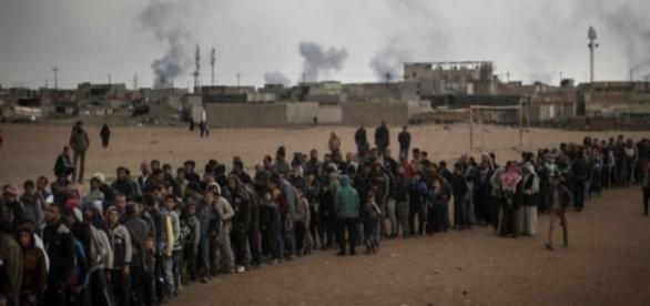 Civiles desplazados de la ciudad de Mosul.