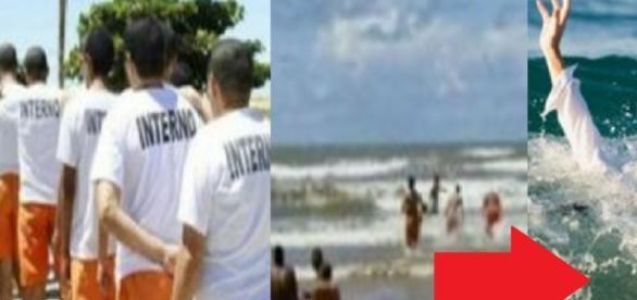 Presos vão para a praia - Imagem/Google