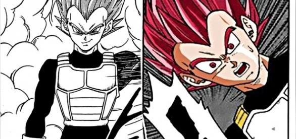Vegeta en Super Saiyajin dios rojo en el manga 22.
