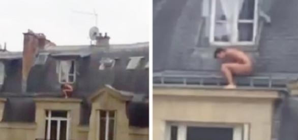 Mulher flagra amante pelado do lado de fora de sótão em Paris