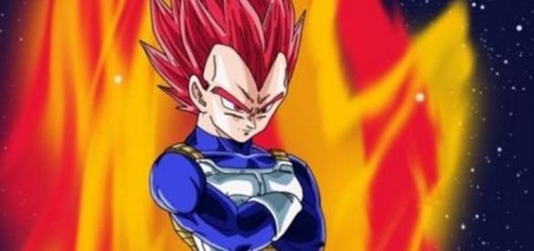 Vegeta el Dios Super Saiyan God rojo