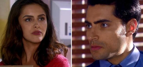 Verônica diz que acha Gustavo atraente e Cecília ouve tudo (Foto: Divulgação/SBT)